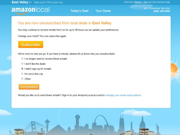 Unsubscribe from Amazon Local