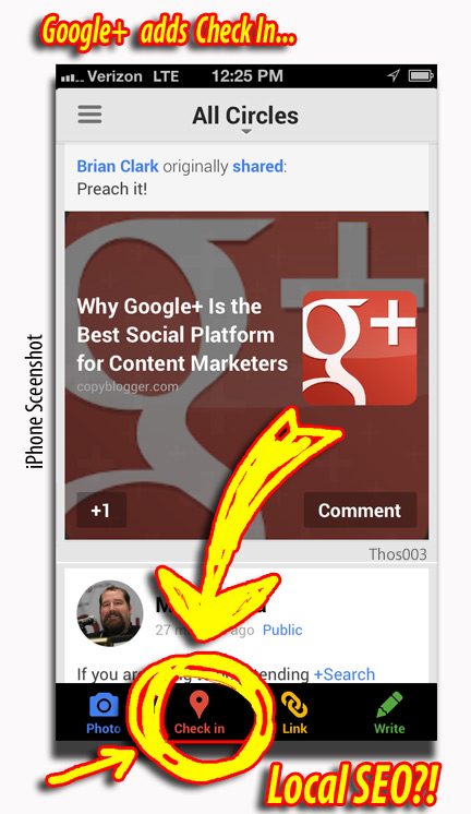 Google Plus Checkin for iPhones