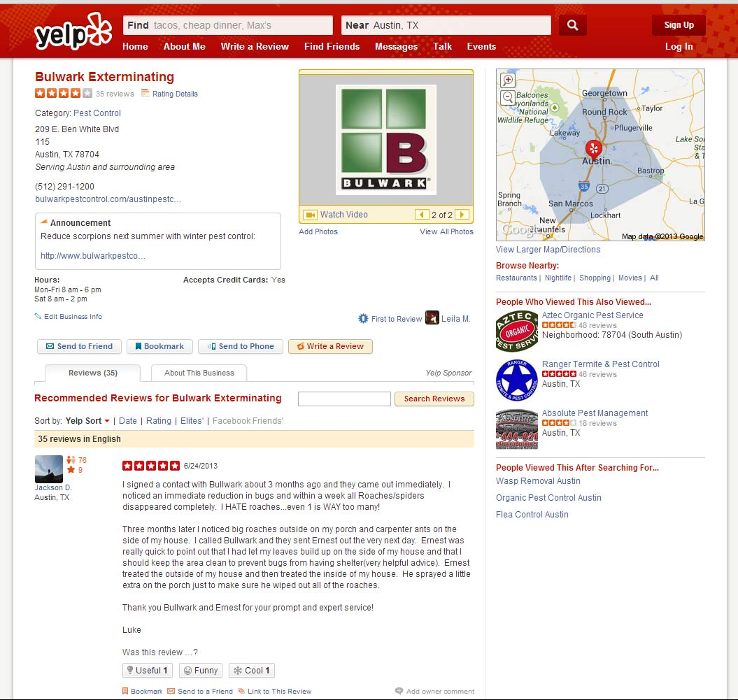 Old Yelp Layout